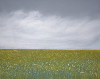 """Yellow fields Original Abstract Acrylic Painting.24"""" x 30"""""""