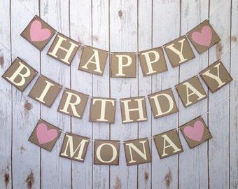 CUSTOM HAPPY BIRTHDAY Banner, happy birthday sign, personalized happy birthday banner, custom birthday banner, birthday decorations