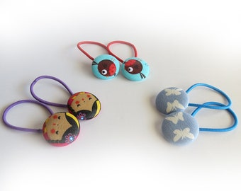 3 sets - Fabric Covered Button Ponytail holder elastic band