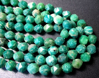 Amazonite faceted nugget- 7x8mm- 7.5 inch