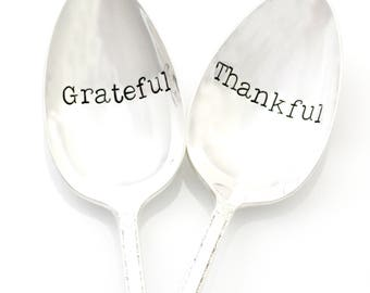 Hand stamped Serving Spoons. Grateful and Thankful Servers. Holiday Table Decor. Easter table.