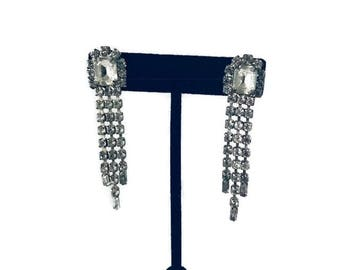 Vintage Rhinestone Silver Costume Glamour Long Earrings