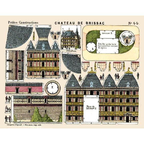 5x Vintage PAPER MODEL BUILDINGS - Printable Toy Sheet Scans - Print ...