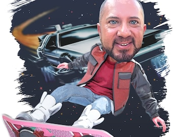 Back to the Future Inspired Custom Cartoon Portrait