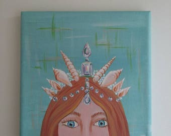 Undersea Royalty Seashell Crown 6x6 painting