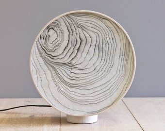 Sumi Lamp - Bleached maple with handprinted suminagashi paper