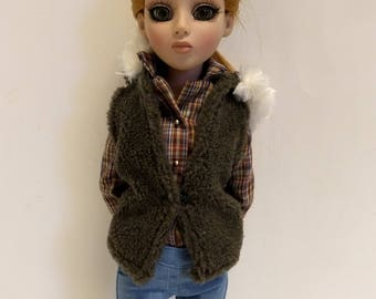 Olive Faux Fur Hooded Vest for Ellowyne Wilde
