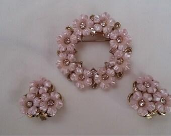 Vintage Pink Lucite Flower Rhinestone Brooch and Earrings Set