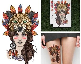 Tattify Jaguar Headdress Temporary Tattoo - Leopard Girl (Set of 2)