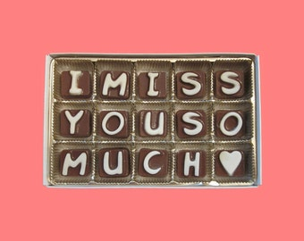 Long Distance Relationship Boyfriend Gift Best Friend Gift Long Distance Friendship Gift for Her I Miss You So Much Cubic Chocolate Letters