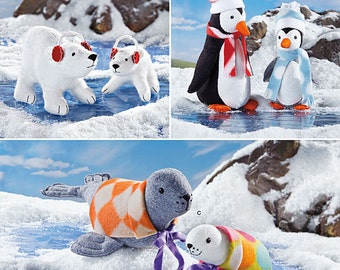 Simplicity Sewing Pattern 1298 Stuffed Polar Bears, Penguins and Seals