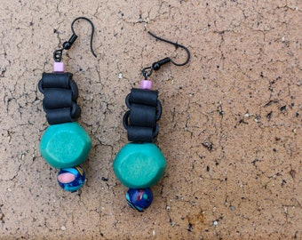 Turquoise Bay (handmade earrings from recycled bicycle inner tube and beads)