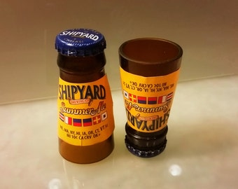 Shipyard summer shot glasses made from the necks of beer bottles! Hand cut and polished Set of 2!