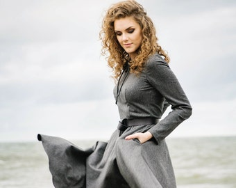 Peter Pan Collar Dress - Midi Dress - Classic Dress - Handmade Dress - Gray Dress - Handmade by INGRID
