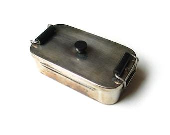 Vintage stainless steel syringe kettle - 1950s