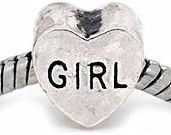 Buckets of Beads Girl Heart Charm Beads Fits Most Major Charm Bracelets For Women Girls