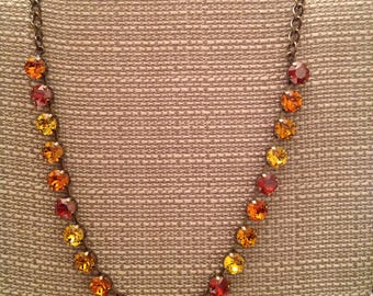 Antique Brass 22 cup necklace with Red Magma, Tangerine, Sunflower and Topaz Swarovski Crystals