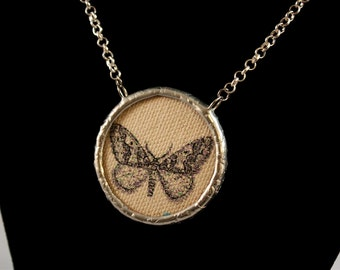 Fabric Double Sided Butterfly Necklace Soldered Pendant - Free Shipping in US -