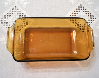 Vintage Fire King Anchor Hocking Amber Glass Loaf Pan Baking Dish Retro Kitchenware Glass Cookware Bakeware PanchosPorch