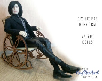 """ROCKING chair for 60-70cm 26-28"""" doll PRE-ORDER diy doll furniture kit dollhouse self assembly laser cut unpainted flatpack bjd chair"""
