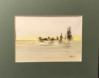 Nature's Edge minimalistic Watercolor Painting