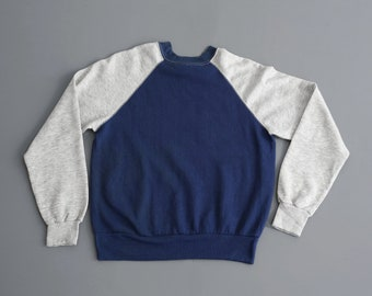 Vintage Raglan Sweatshirt - Made in USA - Poly/Coton - Size S