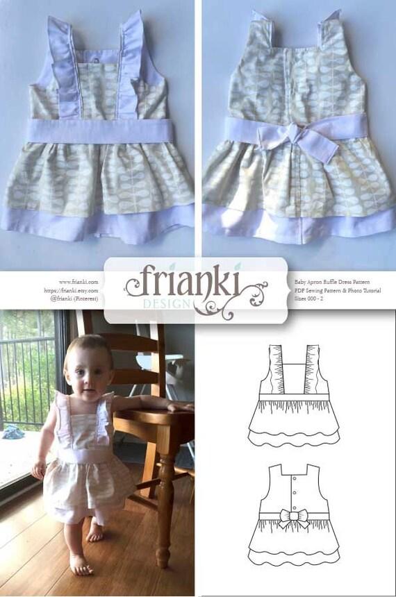 Baby Girl Ruffled Apron Dress PDF Sewing Pattern and Photo