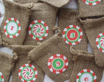 Burlap Christmas Countdown Advent Bags