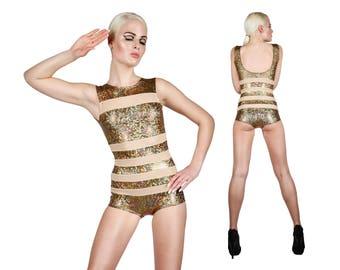 Body or w. rayures nues, Body holographique, vêtements, Costumes de Burning Man, stade porter, Body Sexy, maillot de bain effronté, LENA QUIST