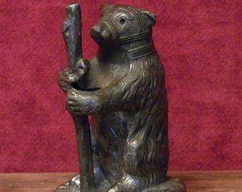 Antique bear salt chaker made of spelter