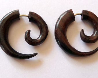 Fake gauge earrings earrings piercing ethnic wooden spiral