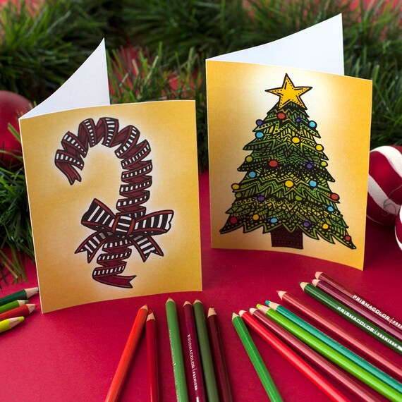 coloring christmas cards 20 diy printable christmas cards to color in 2 sizes of coloring cards 5x7 and 85x55 printable pdf - Coloring Christmas Cards 2
