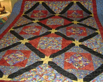 Mardi Gras Red and Blue Throw Quilt