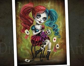 Voodoo Doll Harley Quinn -Jester Girl - Art Print