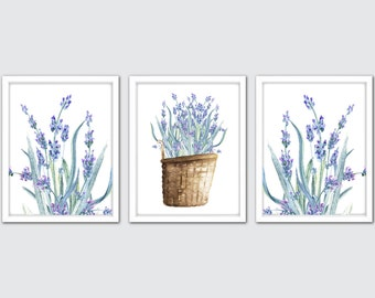 Watercolor Lavender Art Prints, Lavender Bundles Wall Art, Set Of 3 Lavender Wall Prints, Purple Floral Wall Decor, Kitchen Wall Decor