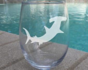 SET OF 2 Hammerhead Shark Stemless Wineglass