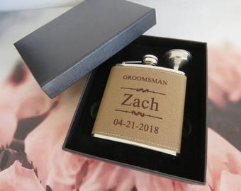 Set of 1 Leather Flask // Personalized Liquor Flask // Best Groomsman Gift Ideas // Whiskey Hip Flask for Men // FREE ENGRAVING