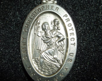 Antique Saint Christopher oval pendent sterling silver marked