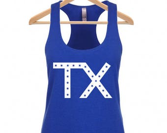 Texas  TX Stars Print - Workout Racerback Active Tank