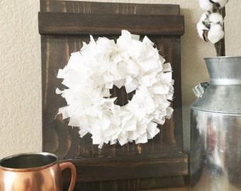 Barn door Window Shutter - Rustic Shutter - Wood frame with rag fabric wreath - Farmhouse Decor - Rustic Decor