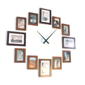 Photo Picture Frame Wall Clock   Brown 12