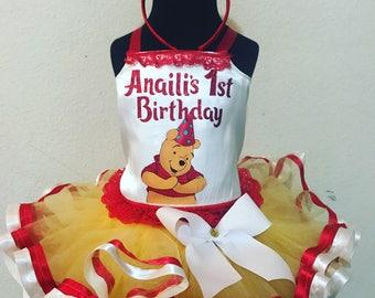 Reversable Winney the pooh corset tutu set
