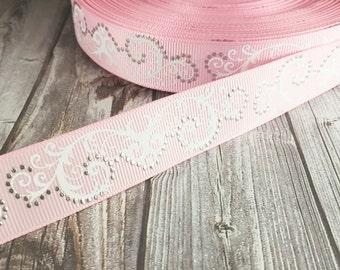 Pink wedding ribbon - Foil dots ribbon - Fancy pink ribbon - Baby shower ribbon - Wedding shower ribbon - Wedding bouquet ribbon - Grosgrain