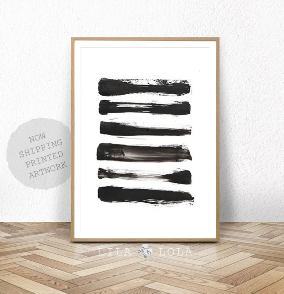 Brush Stroke Print, Black and White Abstract Wall Art, Large Wall Art, Modern Minimal Ink Painting, Home Decor, Simple Design
