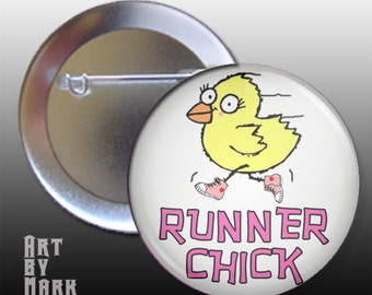 Runner Chick   Pin back Button badge