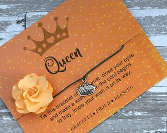 Watch The Queen Conquer Wish Bracelet, Wish Upon Your Wrist, Queen Jewelry, Crown Bracelet, Success Jewelry, Queen Wish Bracelet