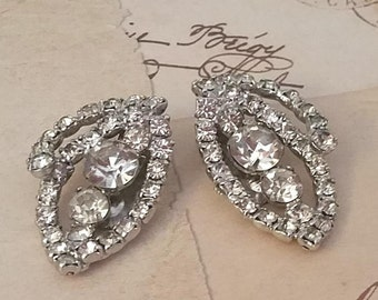 RHINESTONE EARRINGS, Pair of STATEMENT, Large, Clip Ons, 1950's-60's, Vintage Costume Jewelry