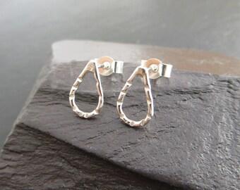 Silver Stud Earrings, Tiny Studs, Teardrop Earrings, Silver Raindrops, Sterling Silver, Small Post Earrings, UK Seller