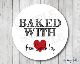 Baked with Love Stickers, Baked with Heart, Personalized Baked Goods Label, Baking Labels or Tags