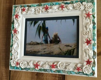 beach Chic shabby chic turquoise Shell and Starfish 5 x 7 picture Frame